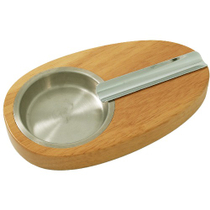 Light Grain Oak Wood and Stainless Steel Single Cigar Ashtray