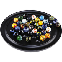 Authentic Models Semi-Precious Stone Marbles Solitaire Di Venezia Game with Black Hardwood Board