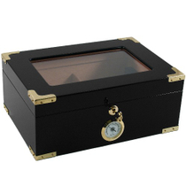 Window Top Black Cigar Humidor, 60 Count