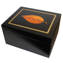 Inlay Tobacco Leaf Black Cigar Humidor Limited Edition