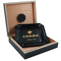 Black Cohiba Ashtray and Humidor Cigar Gift Set