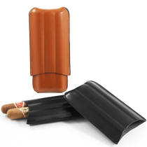 Black Leather 3 Three Finger Travel Cigar Case