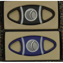 Blue Rubber Grip Double Blade Cigar Cutter