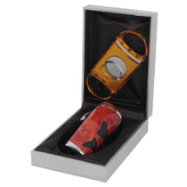 Dolce Sogni Red Torch Lighter and Cigar Cutter Gift Set