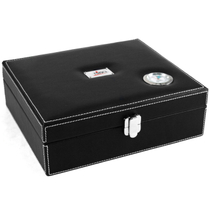 Nibo 25ct Leather Cigar Humidor Outside Hygrometer NEW