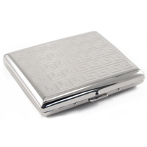 Classic Silver Greek Key Cigarette Case Metal 100's