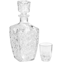 Bormioli Rocco Dedalo 7 Piece Crystal Cut Glass Liquor Decanter and Shot Glass Set
