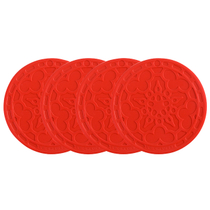 Le Creuset Cherry Silicone French Coaster, Set of 4