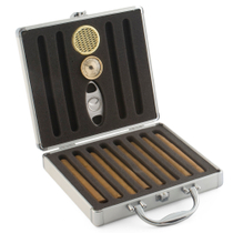 Aluminum Travel Humidor for 12 Cigars with Cutter