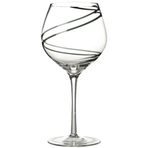 Luigi Bormioli Black Swirl Balloon Stem Glass, Set of 4