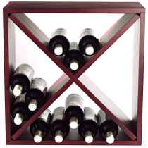 Wine Enthusiast Mahogany 24 Bottle Compact Cellar Cube Wine Rack