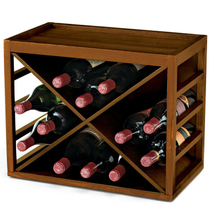 Wine Enthusiast Stained Walnut 12 Bottle Cube Stack Wine Rack