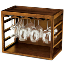 Wine Enthusiast Stained Walnut Cube Stack Wine Glass Rack