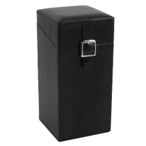 Upright Black Leather Vertical Cigar Humidor for 20 Cigars