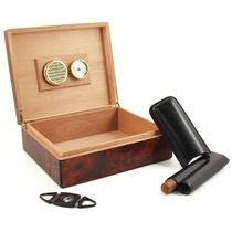 Nibo Burlwood Six Piece Cigar Humidor Gift Set