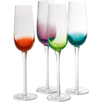Artland Fizzy Assorted Color Flute Bar Glass, Set of 4