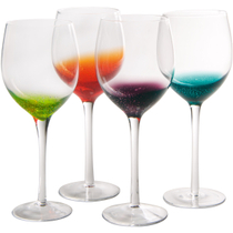 Artland Fizzy Assorted Color Goblet Bar Glass, Set of 4