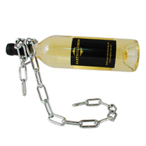 True Fabrications Chrome Plated Steel Magic Chain Wine Bottle Holder, 7 Inch