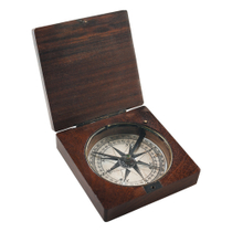 Authentic Models Wooden Lewis & Clark Compass with Lid