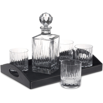 Reed and Barton Soho Leaded Crystal Liquor Bar Set with Tray