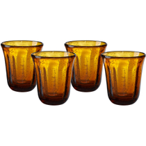 Artland Savannah Amber Bubble Double Old Fashion Glass, Set of 4