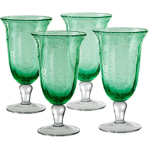 Artland Savannah Green Bubble Glass Goblet, Set of 4