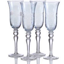 Home Essentials Blue Cut Luster Vintage Style Glass, Set of 4