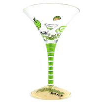Home Essentials Hand Painted Sour Appletini Martini Glass, Set of 2