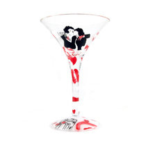 Home Essentials Hand Painted French Kiss Martini Glass, Set of 2