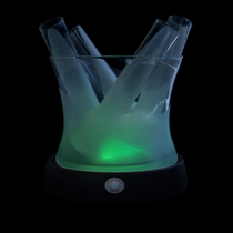 6 Piece Glowing Multi Color Frosted Shooter Glass and Ice Bucket Set