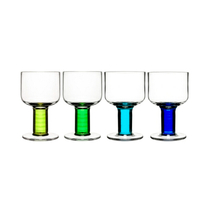 Sagaform Club All Purpose Blue/Green Stemmed Wine Glass, Set of 4