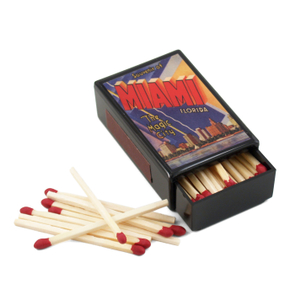 Miami Postcard Slide Match Box with Matches
