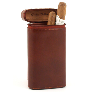 Andre Garcia Manhattan Collection Cognac Brown Zippered Italian Leather and Cedar-Lined 4 Finger Cigar Case