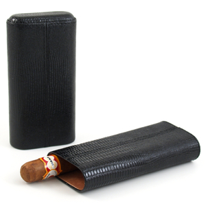 Shark Skin Black Three Finger Cigar Humidor Case