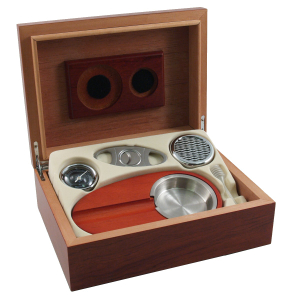 Burl Wood Humidor 6 Piece Cigar Gift Set