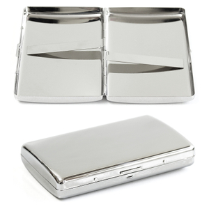 Stainless Steel Hinged 16 - 100s Cigarette Case