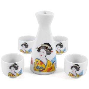 Glazed Ceramic Japanese Geisha 5 Piece Sake Set