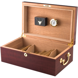 Cherry Hi Lacquer Cigar Humidor 100+Count with Outside Hygrometer