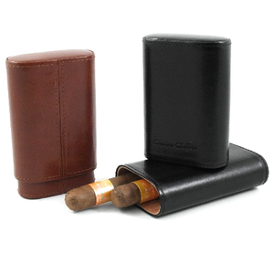 Andre Garcia Jermyn St. Collection Classic Brown Italian Leather Cedar-Lined 3 Finger Cigar Case
