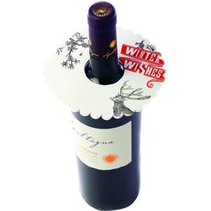 True Fabrications Winter Wishes Wine Bottle Gift Tag