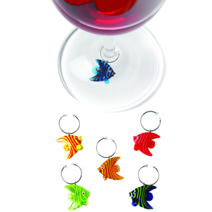 True Fabrications Glass Angelfish Wine Glass Charm, Set of 6