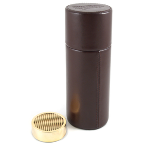 Brown Leather Canister Humidor ideal for Home & Travel