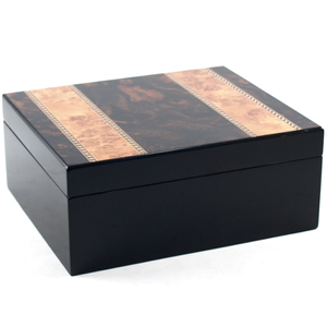 Presidential Burl Inlay Cigar Humidor with Mirrior Finish 25Ct