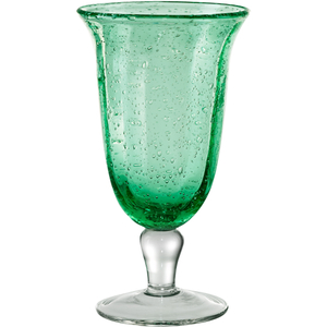 Artland Savannah Green Bubble Glass Goblet, 14 Ounce