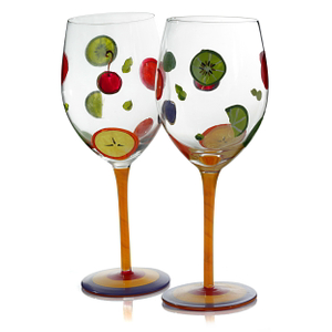 Simply Fruit Hand Painted Beverage Goblet, Set of 4
