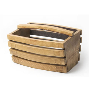 True Fabrications Oak Wine Barrel Stave Wine Basket