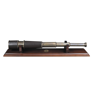 Authentic Models Leather and Bronze Spyglass Telescope on French Finish Wood Display Stand