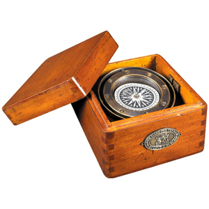 Authentic Models Bronze Dory Lifeboat Compass with French Finished Wood Box