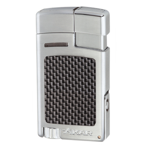 Xikar Forte Carbon Fiber Silver Single Jet Lighter