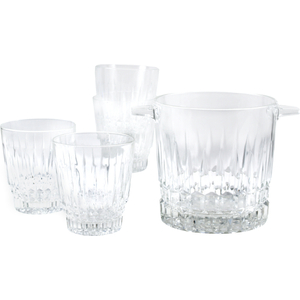 Trevi Crystal Cut Whiskey Glass and Ice Bucket Set 6 Piece
